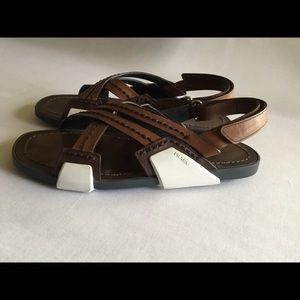 Prada Color black Crisscross Sandals sz.40 $195